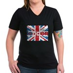 UK Flag - London Women's V-Neck Dark T-Shirt
