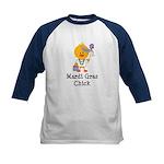 Mardi Gras Chick Kids Baseball Jersey