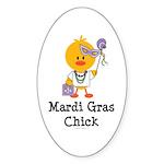 Mardi Gras Chick Oval Sticker (10 pk)