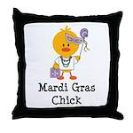 Mardi Gras Chick Throw Pillow