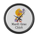 Mardi Gras Chick Large Wall Clock