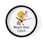 Mardi Gras Chick Wall Clock