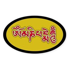 Red Om Mani Padme Hum Oval Decal
