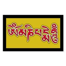 Red Om Mani Padme Hum Rectangle Decal
