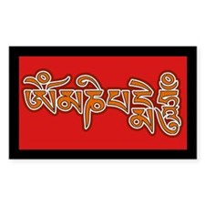 Red Orange Om Mani Padme Hum Rectangle Decal