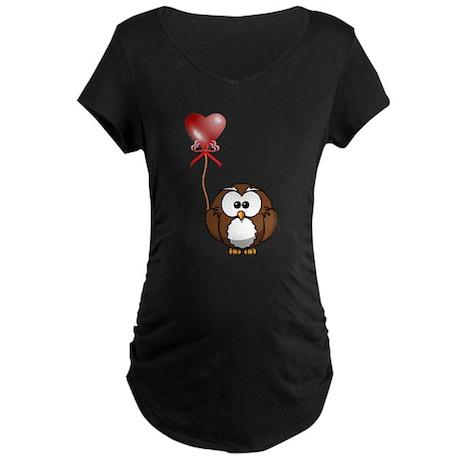 Valentine Owl Maternity Dark T-Shirt