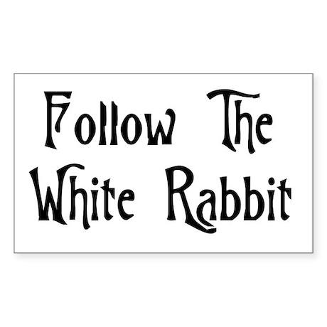 Follow The White Rabbit Sticker (Rectangle 50 pk)