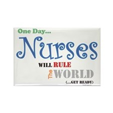 Nurses Will Rule The World Rectangle Magnet