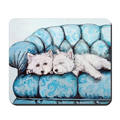Westie Couch Potatoes Mousepad