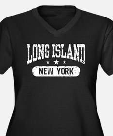 Long Island New York Women's Plus Size V-Neck Dark