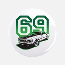"'69 Mustang in Bullit Green 3.5"" Button"