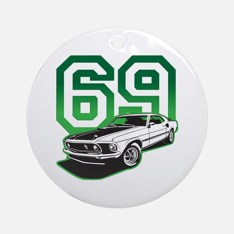 '69 Mustang in Bullit Green Ornament (Round)