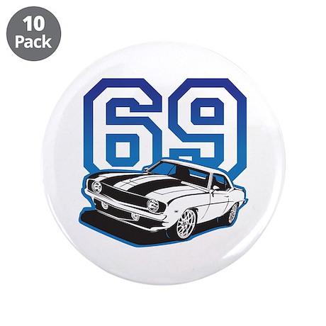 "'69 Camaro in Blue 3.5"" Button (10 pack)"