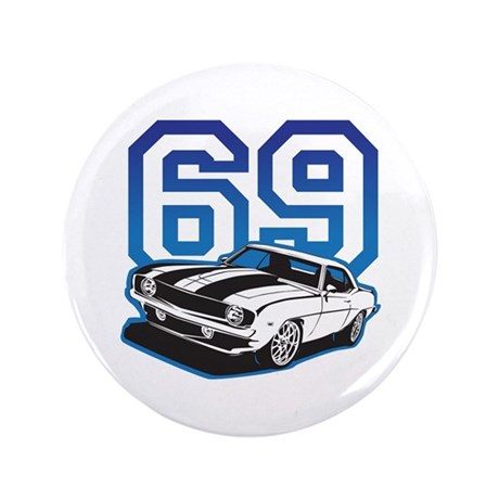 "'69 Camaro in Blue 3.5"" Button (100 pack)"