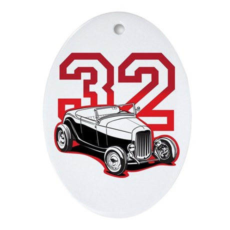 '32 Roadster in Red Oval Ornament