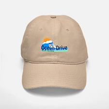 Ocean Drive Beach SC - Waves Design Baseball Baseball Cap