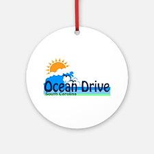 Ocean Drive Beach SC - Waves Design Ornament (Roun