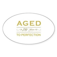 Stylish 70th Birthday Oval Decal