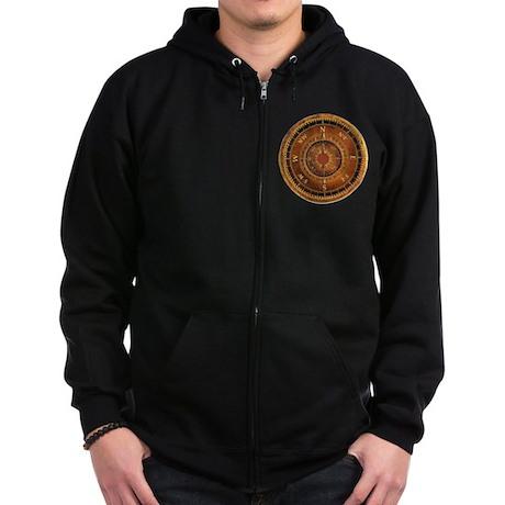 Compass Rose in Brown Zip Hoodie (dark)