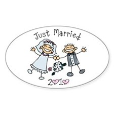 Stick Just Married 2010 Oval Decal