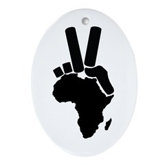 Africa Peace Sign Oval Ornament