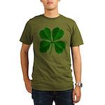 Lucky Four Leaf Clover Organic Men's T-Shirt (dark