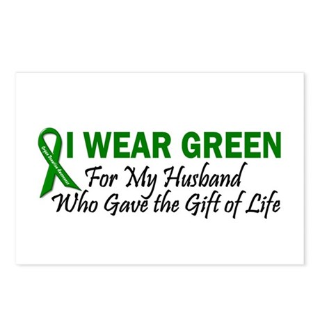 I Wear Green Husband Organ Donor Postcards (Packag