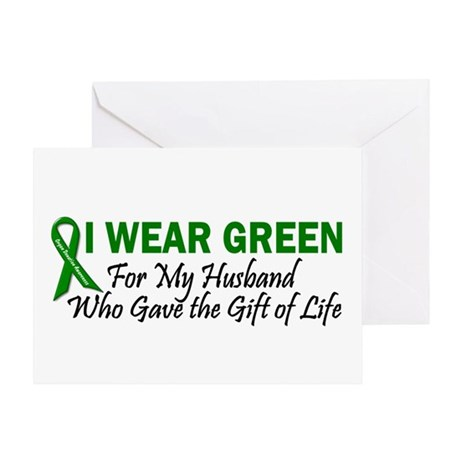 I Wear Green Husband Organ Donor Greeting Card