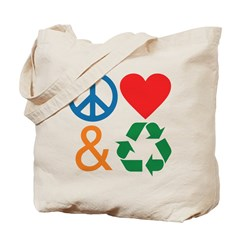 Peace, Love & Recycle Tote Bag