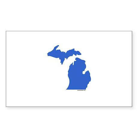 Michigan Peninsulas blue Rectangle Sticker