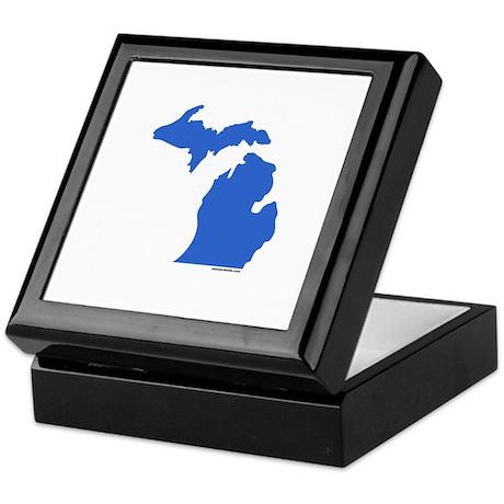 Michigan Peninsulas blue Keepsake Box
