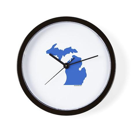 Michigan Peninsulas blue Wall Clock