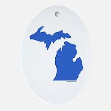 Michigan Peninsulas blue Oval Ornament