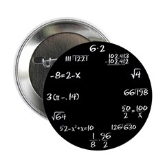 "Black Math Clock 2.25"" Button (10 pack)"