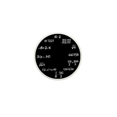 Black Math Clock Mini Button