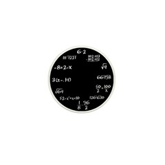 Black Math Clock Mini Button (10 pack)