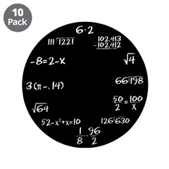 "Black Math Clock 3.5"" Button (10 pack)"