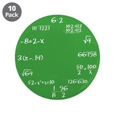 "Green Math Clock 3.5"" Button (10 pack)"