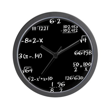 Black Chalkboard Math Wall Clock