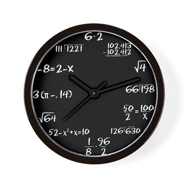 Black Chalkboard Math Wall Clock By Shadowmoons
