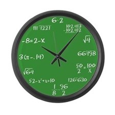 Large Green Chalkboard Math Wall Clock