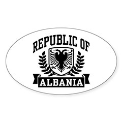 Republic of Albania Oval Sticker (10 pk)
