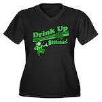 Drink Up Bitches Women's Plus Size V-Neck Dark T-S