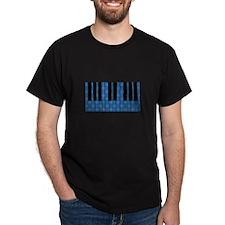 Blue Optical Illusion Piano Black T-Shirt