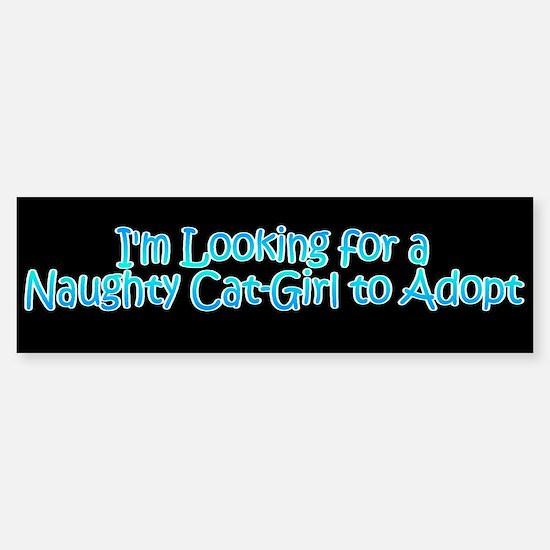 Naughty Catgirl Adoption Black Bumper Bumper Bumper Sticker