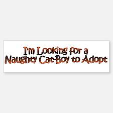 Naughty Catboy Adoption Sticker (White Bumper)