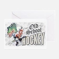 Old School Dino Hockey Greeting Cards (Package of