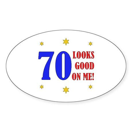 Fun 70th Birthday Oval Sticker