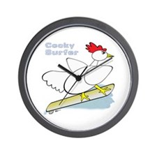 Rooster Surfer Wall Clock