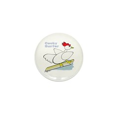 Rooster Surfer Mini Button (10 pack)